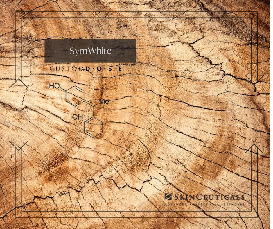 Image montrant une racine d'un arbre avec le nom SymWhite inscrit ainsi que la molécule correspondante